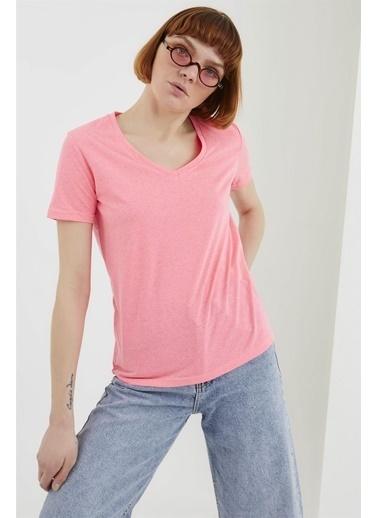 Z Giyim Pamuklu V Yaka T-shirt Pembe